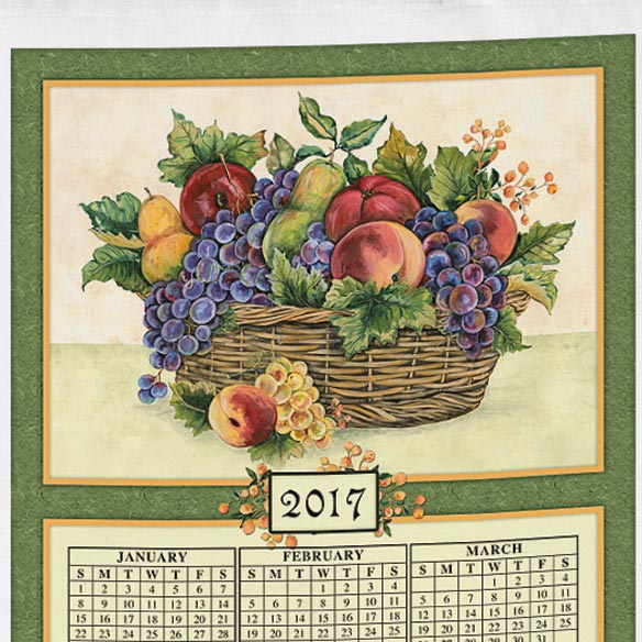 Personalized Antique Fruit Calendar Towel - View 2