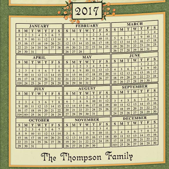 Personalized Antique Fruit Calendar Towel - View 3