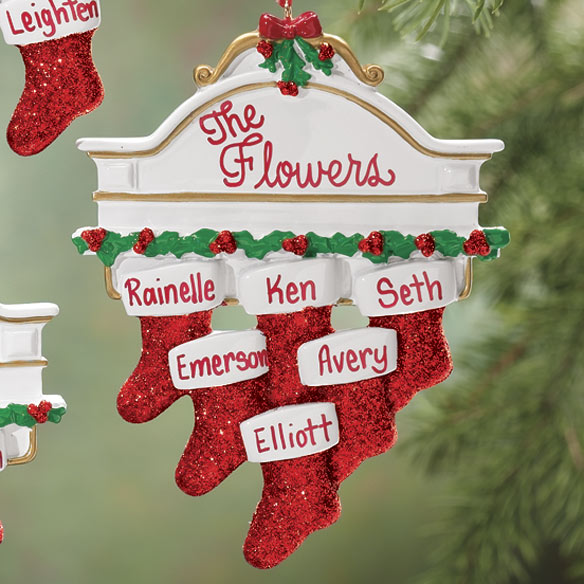 Personalized Christmas Mantel Stocking Ornaments - View 3