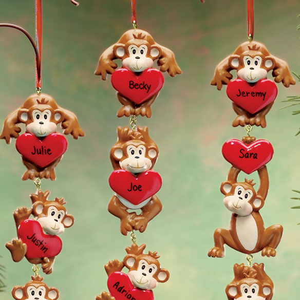 Personalized Monkeys With Hearts Ornaments - View 2