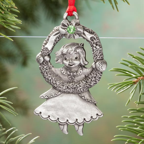 Personalized Pewter Birthstone Girl Ornament - View 2