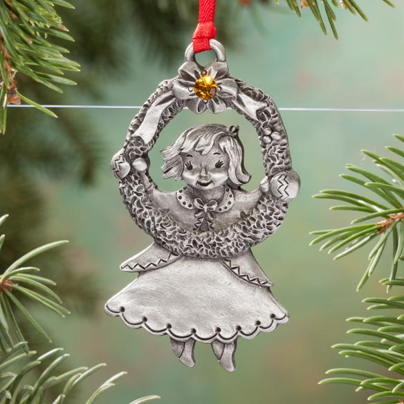 Personalized Pewter Birthstone Girl Ornament - View 3