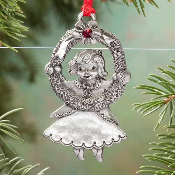 Personalized Pewter Birthstone Girl Ornament - View 4