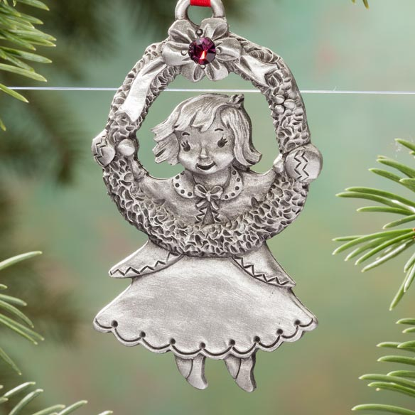 Personalized Pewter Birthstone Girl Ornament - View 5