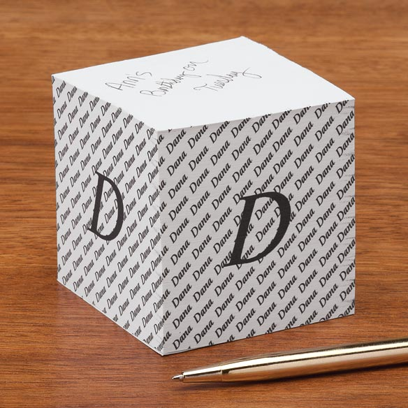 Personalized Initial Self Stick Note Cube - View 2