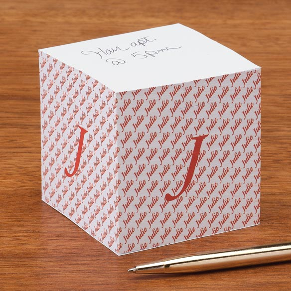 Personalized Initial Self Stick Note Cube - View 5