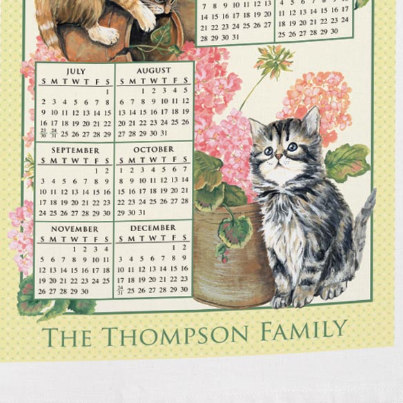 Personalized Curious Kittens Calendar Towel - View 3