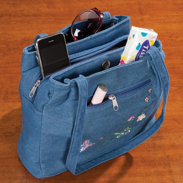 Three Section Embroidered Denim Handbag - View 2