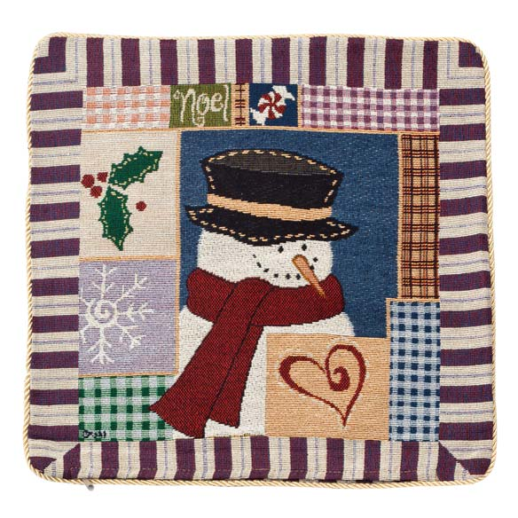 Holiday Needlepoint Snowman Pillow Cover - View 2