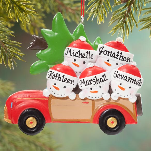 Personalized Woody Wagon Family Ornament - View 4