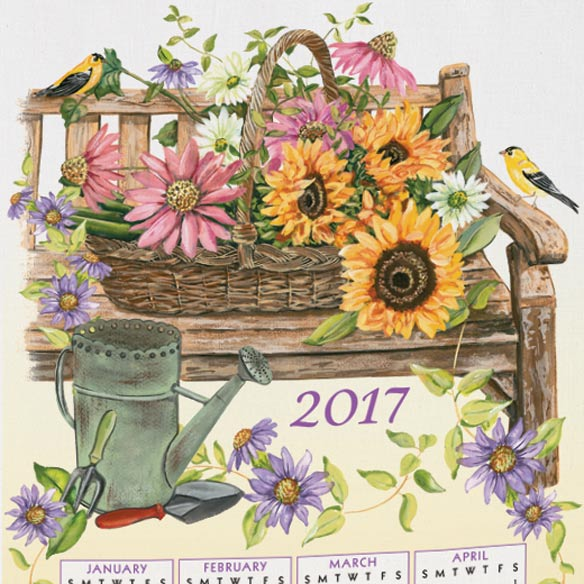 Personalized Finch and Sunflowers Calendar Towel - View 2