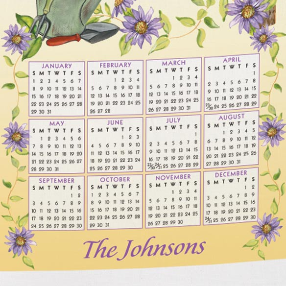 Personalized Finch and Sunflowers Calendar Towel - View 3
