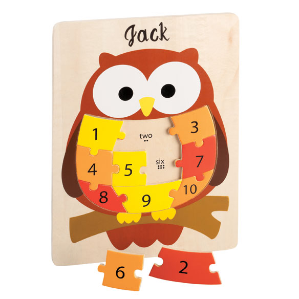 Personalized Wood Owl Number Puzzle - View 2