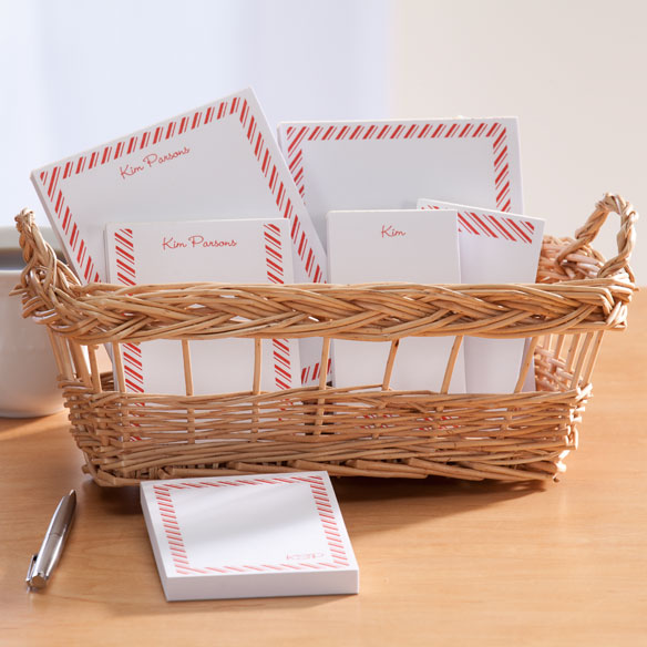 Personalized Diagonal Stripes Basketful of Notepads - View 2