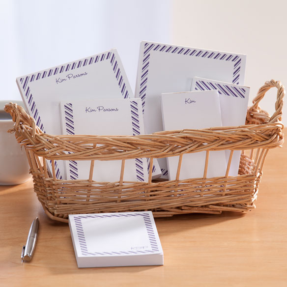 Personalized Diagonal Stripes Basketful of Notepads - View 3