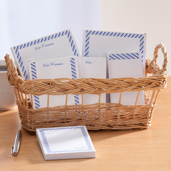 Personalized Diagonal Stripes Basketful of Notepads - View 4