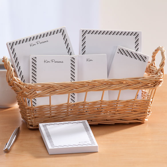 Personalized Diagonal Stripes Basketful of Notepads - View 5