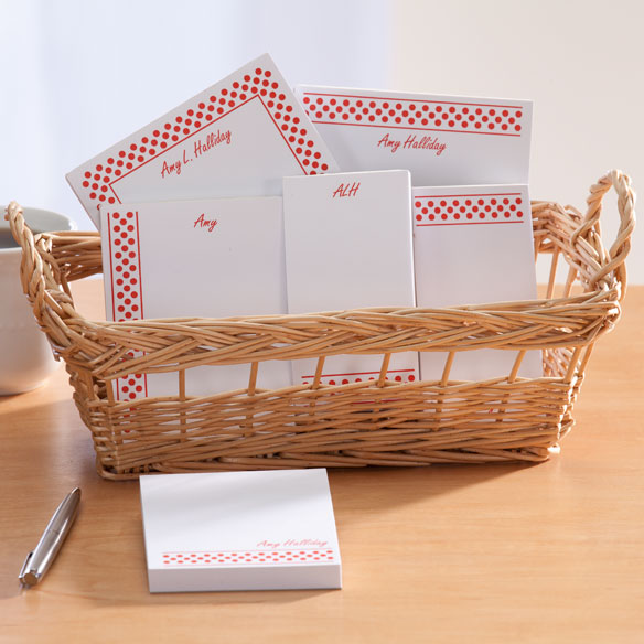 Personalized Polka Dots Basketful of Notepads - View 2