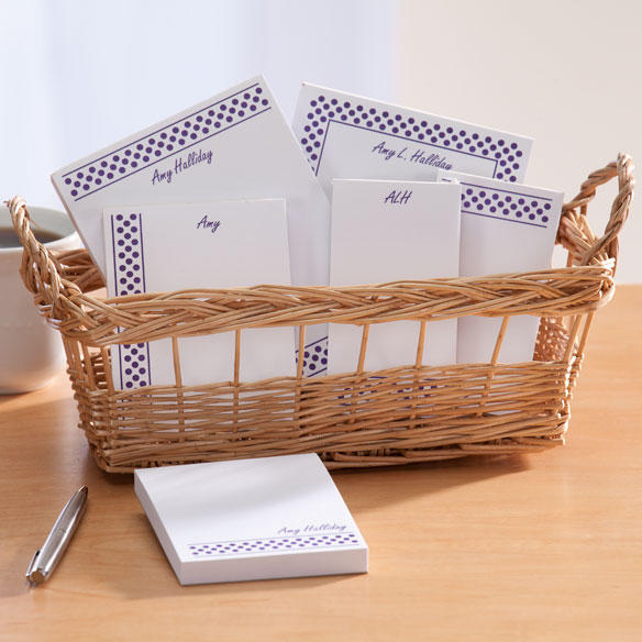 Personalized Polka Dots Basketful of Notepads - View 3