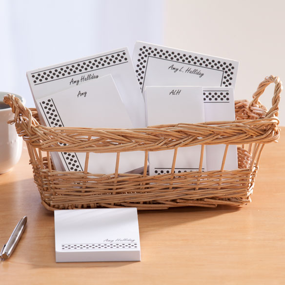Personalized Polka Dots Basketful of Notepads - View 5