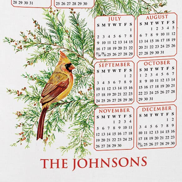 Personalized Cardinal and Fir Calendar Towel - View 3