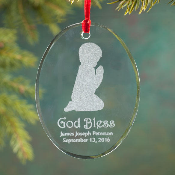 Personalized Glass Praying Child Ornament - View 2