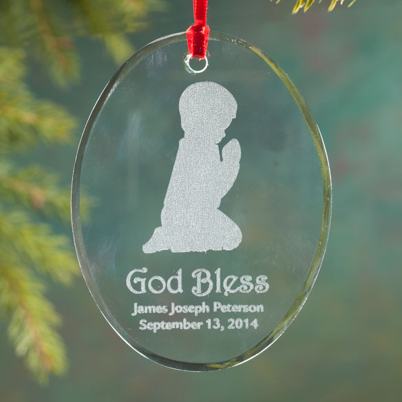 Personalized Glass Praying Child Ornament - View 3
