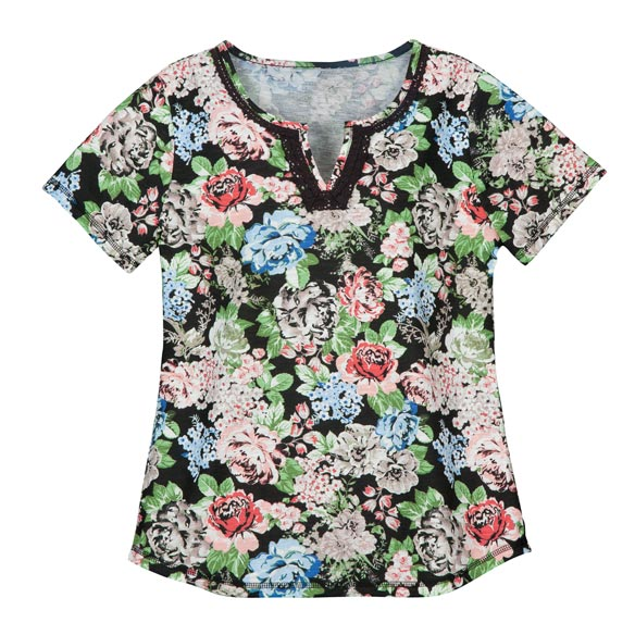 Floral V-Neck T-Shirt With Embroidery - View 2