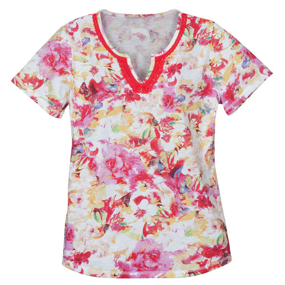 Floral V-Neck T-Shirt With Embroidery - View 3