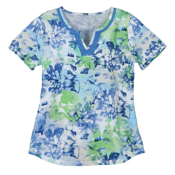 Floral V-Neck T-Shirt With Embroidery - View 4