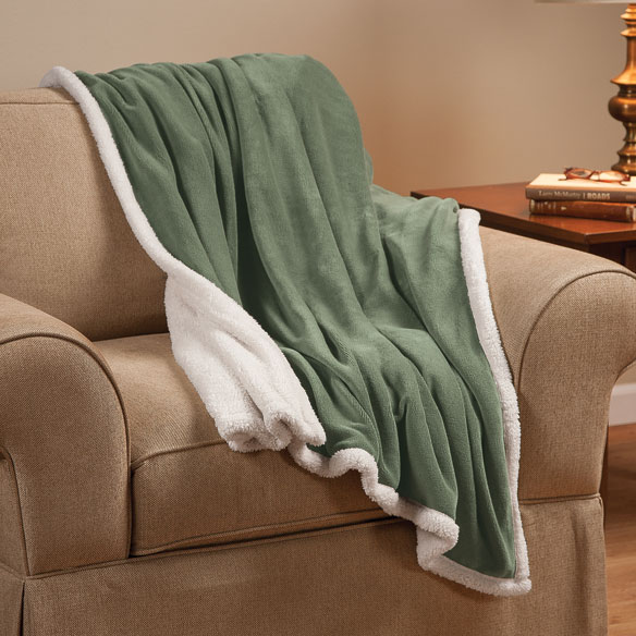 "Ultra Plush Microfiber Sherpa Throw - 50""x60"" by OakRidge Comforts™ - View 2"