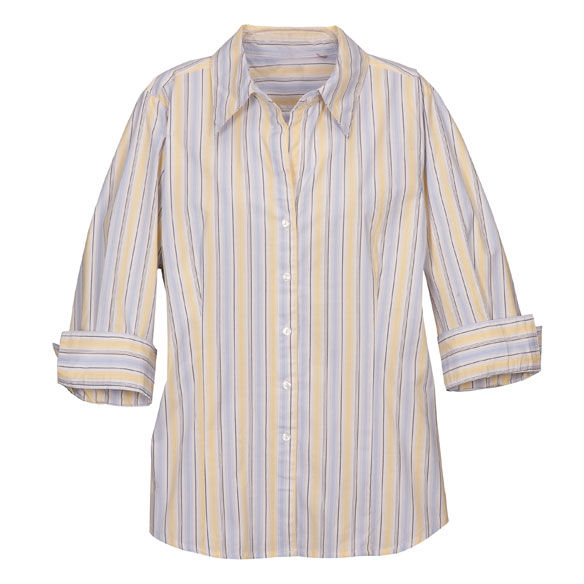 3/4 Length Striped Woven Shirts - View 3