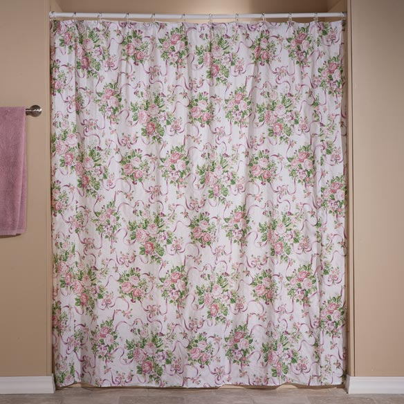 Ribbons and Roses Shower Curtain Set - View 2