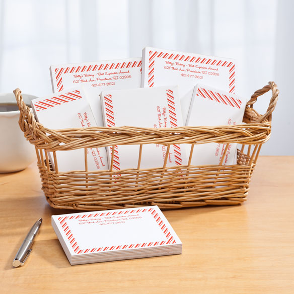 Personalized Diagonal Stripes Business Basketful of Notepads - View 2