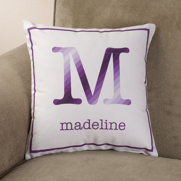Personalized Initial Stripe Pillow - View 2