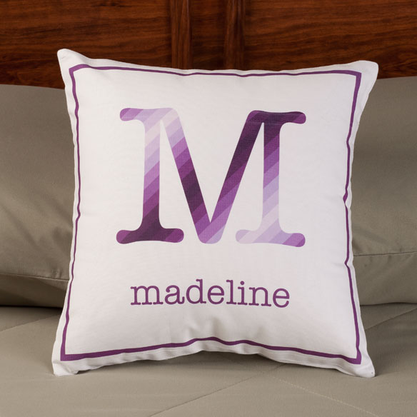 Personalized Initial Stripe Pillow - View 4