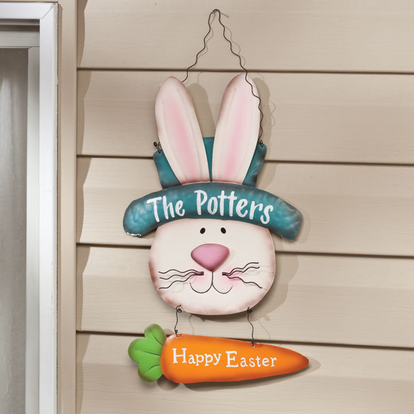 Personalized Metal Easter Bunny Door Hanger by Maple Lane Creations™ - View 2