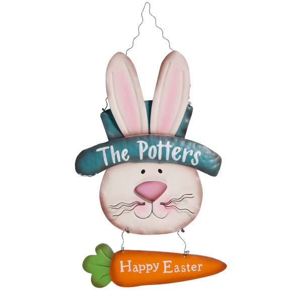 Personalized Metal Easter Bunny Door Hanger by Maple Lane Creations™ - View 3