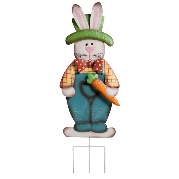 Metal Easter Bunny Boy Garden Stake - View 2