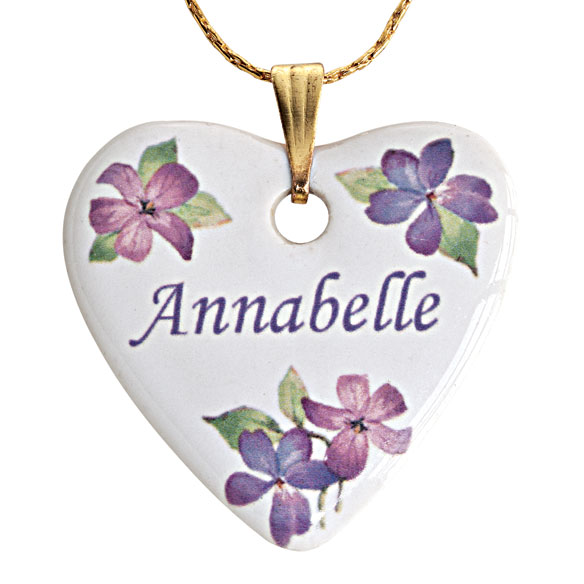 Personalized Porcelain Heart Necklace With Chain - View 3