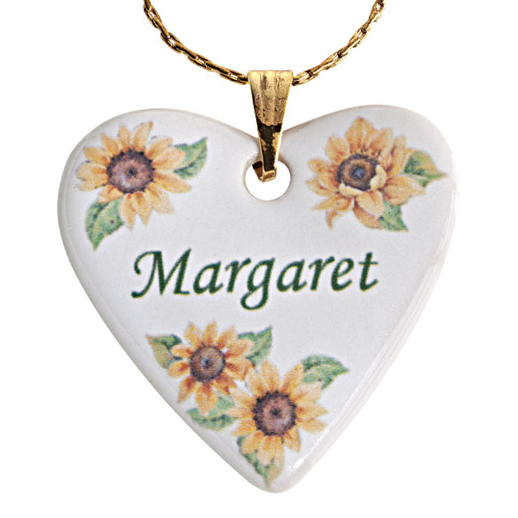 Personalized Porcelain Heart Necklace With Chain - View 4