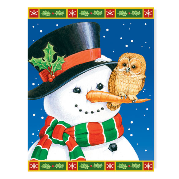 Snowman and Owls Non Personalized Christmas Card Set of 20 - View 2