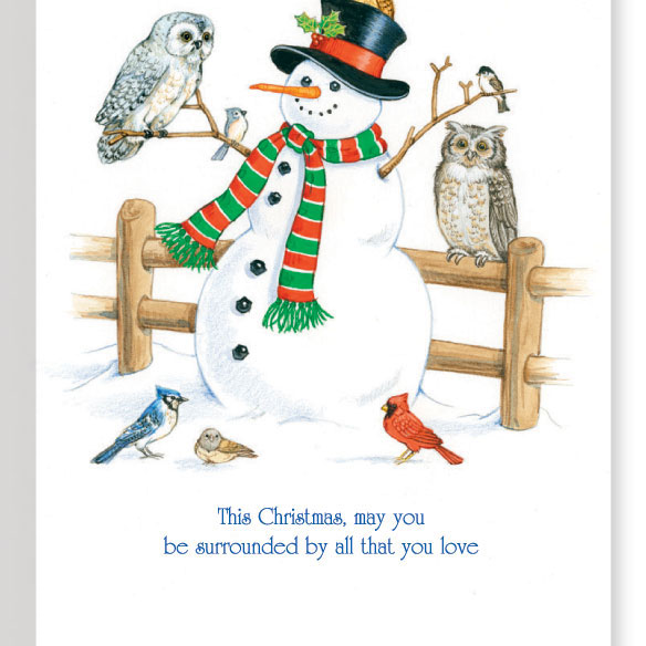 Snowman and Owls Non Personalized Christmas Card Set of 20 - View 3