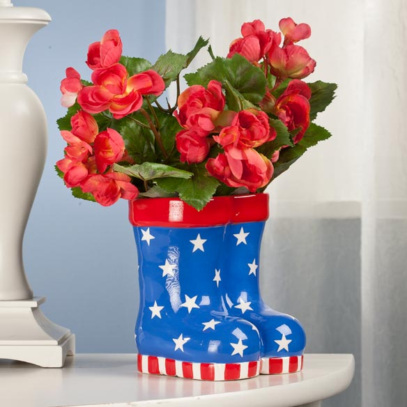 Patriotic Rain Boots Planter - View 2