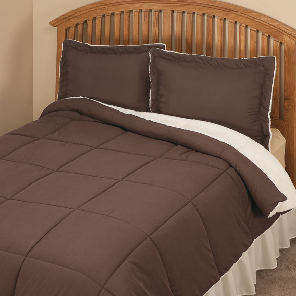 Kathy Ireland Sherpa Lined Alternative Down Comforter With