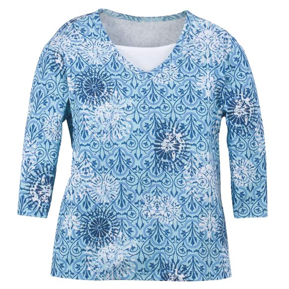 Batik 3/4-Sleeve V-Neck Top with Insert - View 2