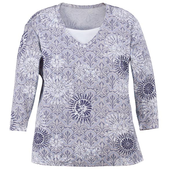 Batik 3/4-Sleeve V-Neck Top with Insert - View 3