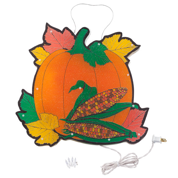 Pumpkin with Leaves Shimmer Light by Northwoods Illuminations™ - View 2