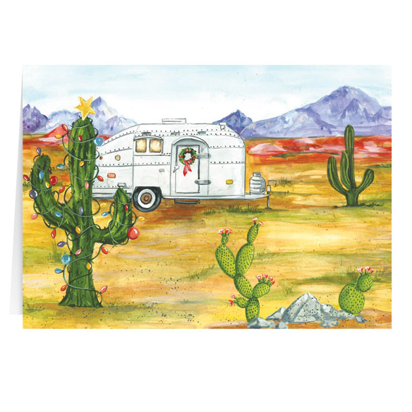Desert Snowbirds Happy Holidays Personalized Christmas Card - Set of 20 - View 2