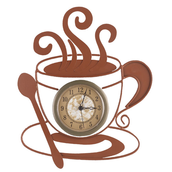 Metal Coffee Cup Clock - View 2